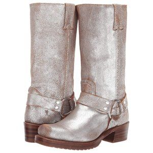 Size 7.5 FRYE Harness 12R Silver Leather Boots